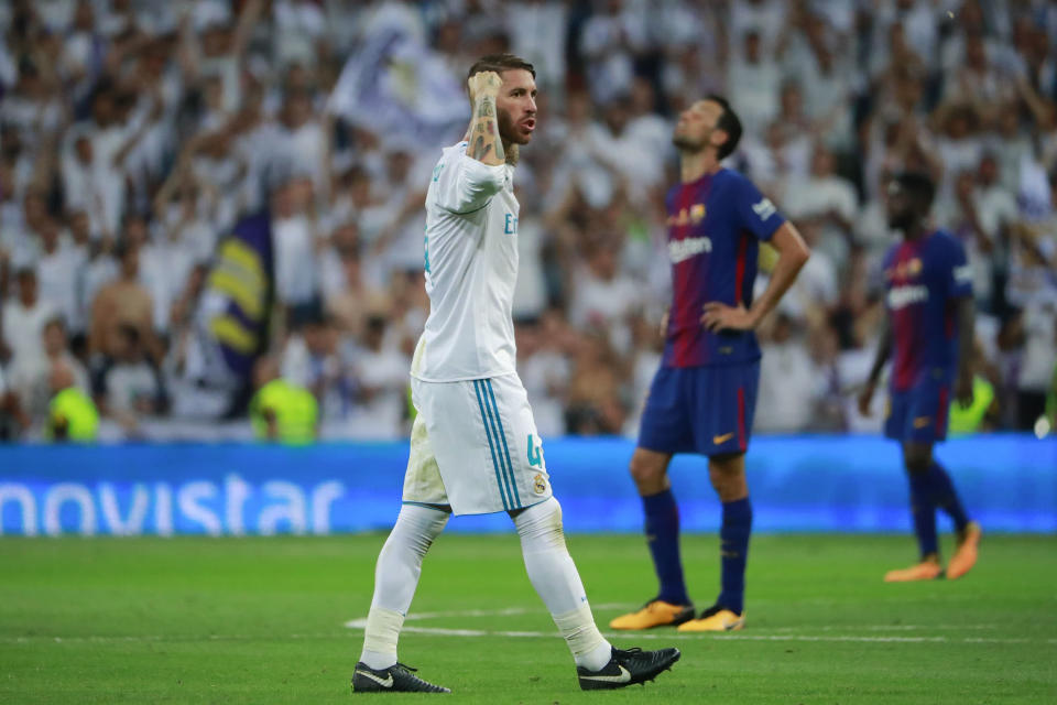 Real Madrid's Sergio Ramos was among the La Liga players present for a meeting in the wake of the league's announcement of its U.S. plan. (Getty)