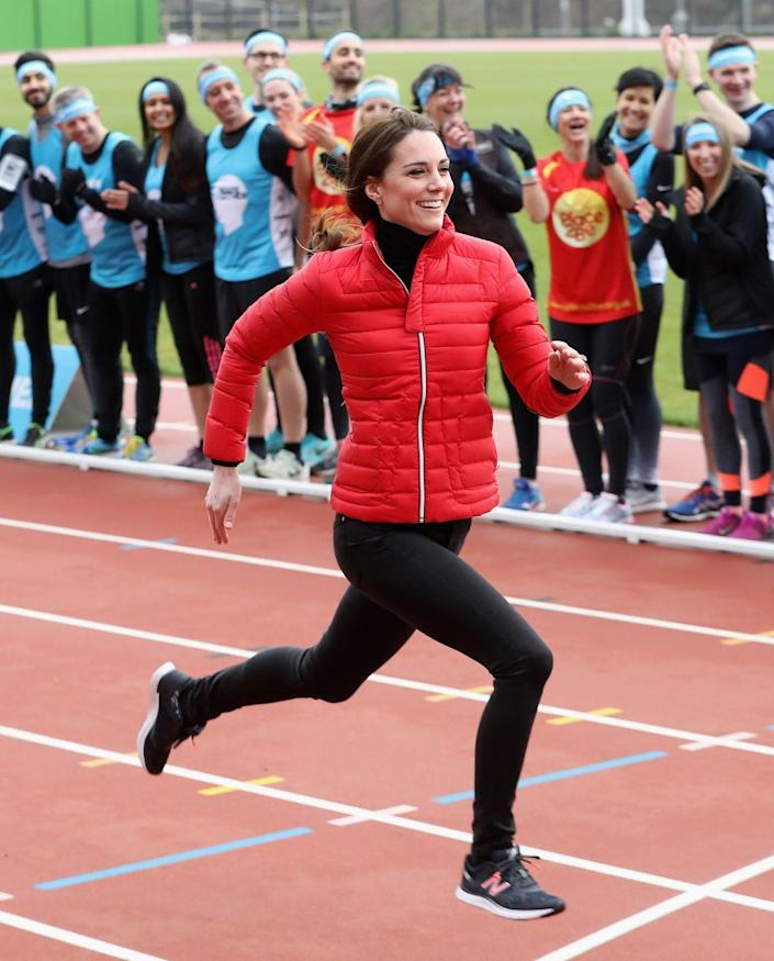 """<p>The Duchess showed off her athletic prowess while <a href=""""https://www.townandcountrymag.com/society/tradition/news/a9506/kate-middleton-running-race/"""" rel=""""nofollow noopener"""" target=""""_blank"""" data-ylk=""""slk:competing against"""" class=""""link rapid-noclick-resp"""">competing against </a>Prince William and Prince Harry during a Heads Together event at a London Marathon Training Day. </p>"""