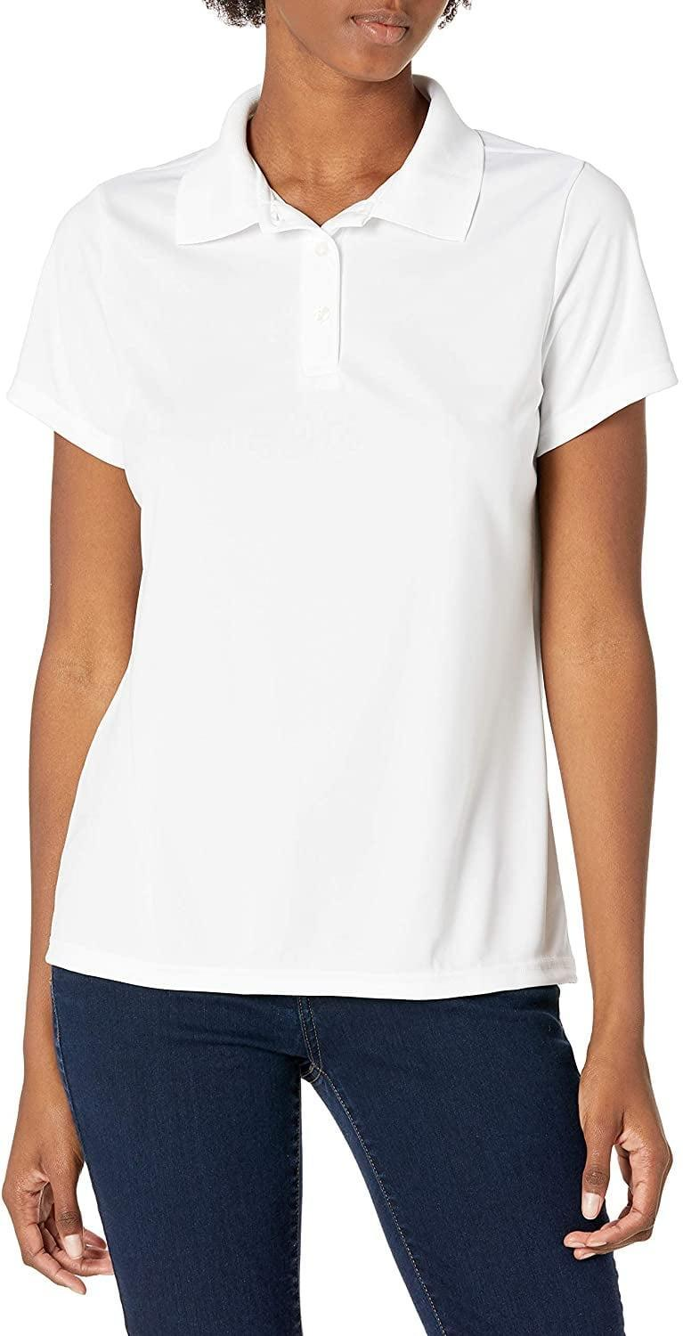<p>This <span>Hanes Performance Polo Shirt</span> ($16) may be categorized as workout wear, but you can totally style it with your go-to high-waisted jeans or trousers for a sporty, and effortlessly cool look. We're also imagining it with a floral miniskirt and some slide sandals for a feminine and sweet outfit.</p>