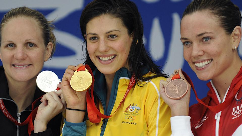 Stephanie Rice shot to prominence at the 2008 Beijing Olympics, winning three gold medals in the swimming. (TIMOTHY CLARY/AFP via Getty Images)