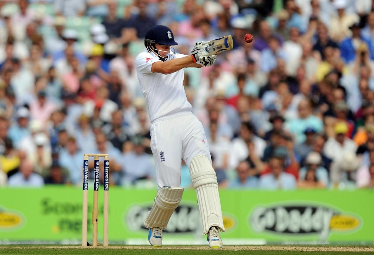 England's Joe Root bats during day three of the Fifth Investec Ashes Test match at The Kia Oval, London.