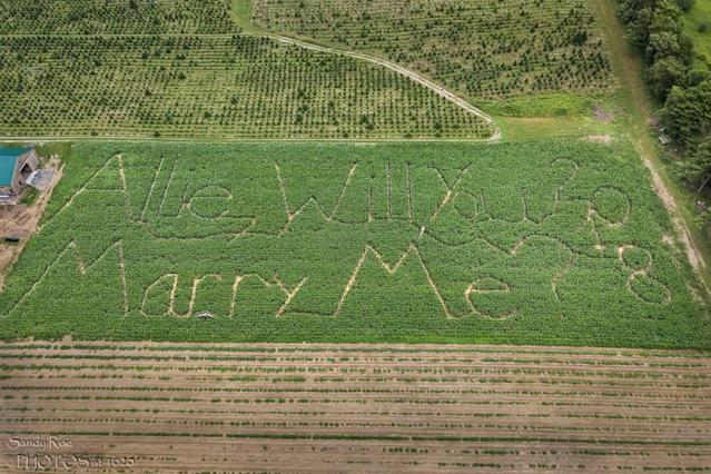 The corn-maze proposal that won the internet. (Photo: Courtesy of Travis Drexler/Allie Randall)