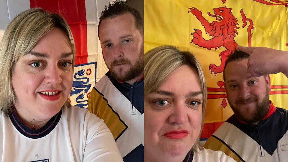 Chris Millen, 37 from Livingston and his wife Laura Millen, 38, from Mansfield live in Ipswich and will be watching the game together