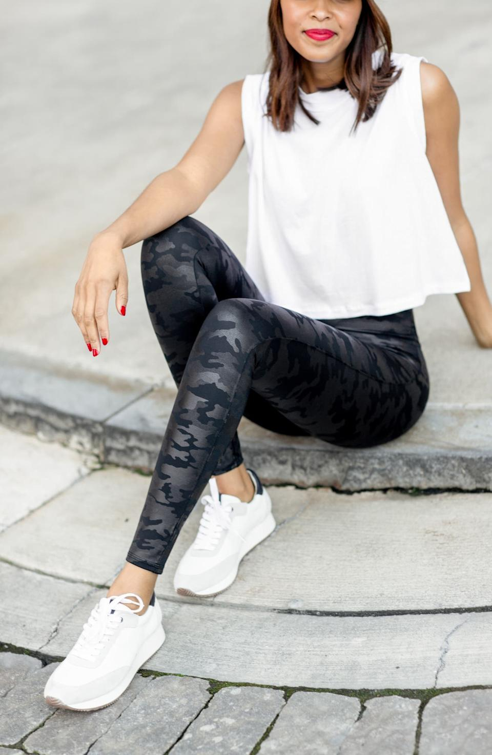 Save big on the bestselling Faux Leather Camo Leggings and more customer favourites with the Spanx New Year Sale. Image via Nordstrom.