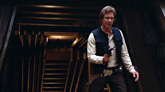 "<p>While he softened up a bit in his brief appearance in <em>The Force Awakens</em>, and we won't speak of the guy's ridiculous origin story, Han 1.0 was a total badass. He says ""I know,"" when his girl says she loves him. He basically saves the galaxy by dropping into Luke's fight against the Death Star. And he shoots first! He definitely shoots first.</p>"