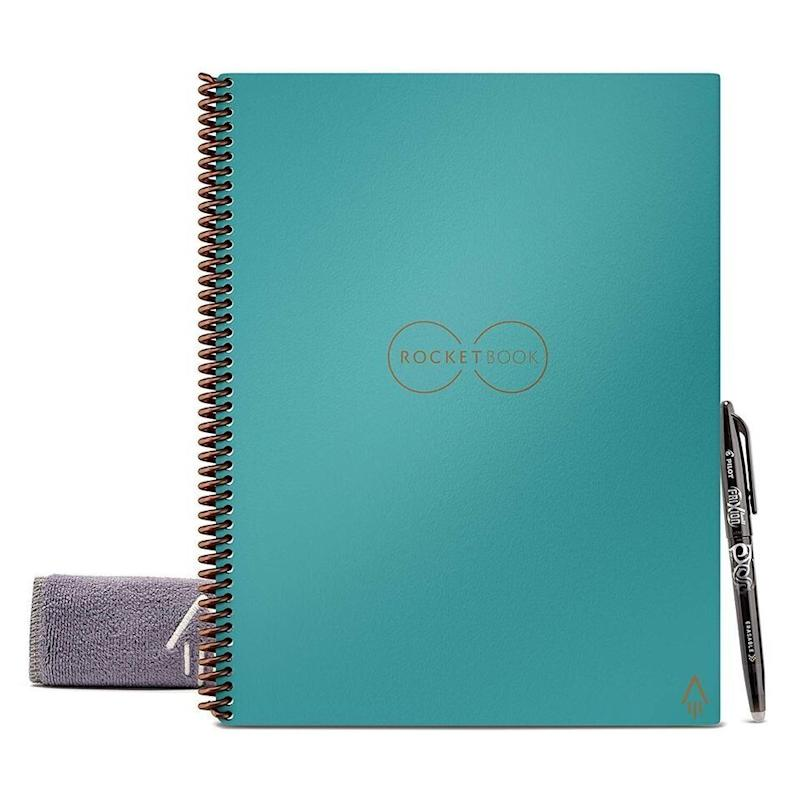 """Upgrade his planner with this technologically savvy notebook from&nbsp;<strong><a href=""""https://amzn.to/2YOEv9y"""" target=""""_blank"""" rel=""""noopener noreferrer"""">Rocketbook</a></strong>. By pairing this notebook with an app, his scrawls and doodles can be automatically sent to his Cloud, Dropbox, Evernote, email and more. (True story: I currently have 4 of them in my cart!)&nbsp;<strong><a href=""""https://amzn.to/2YOEv9y"""" target=""""_blank"""" rel=""""noopener noreferrer"""">Get it on Amazon</a></strong>."""