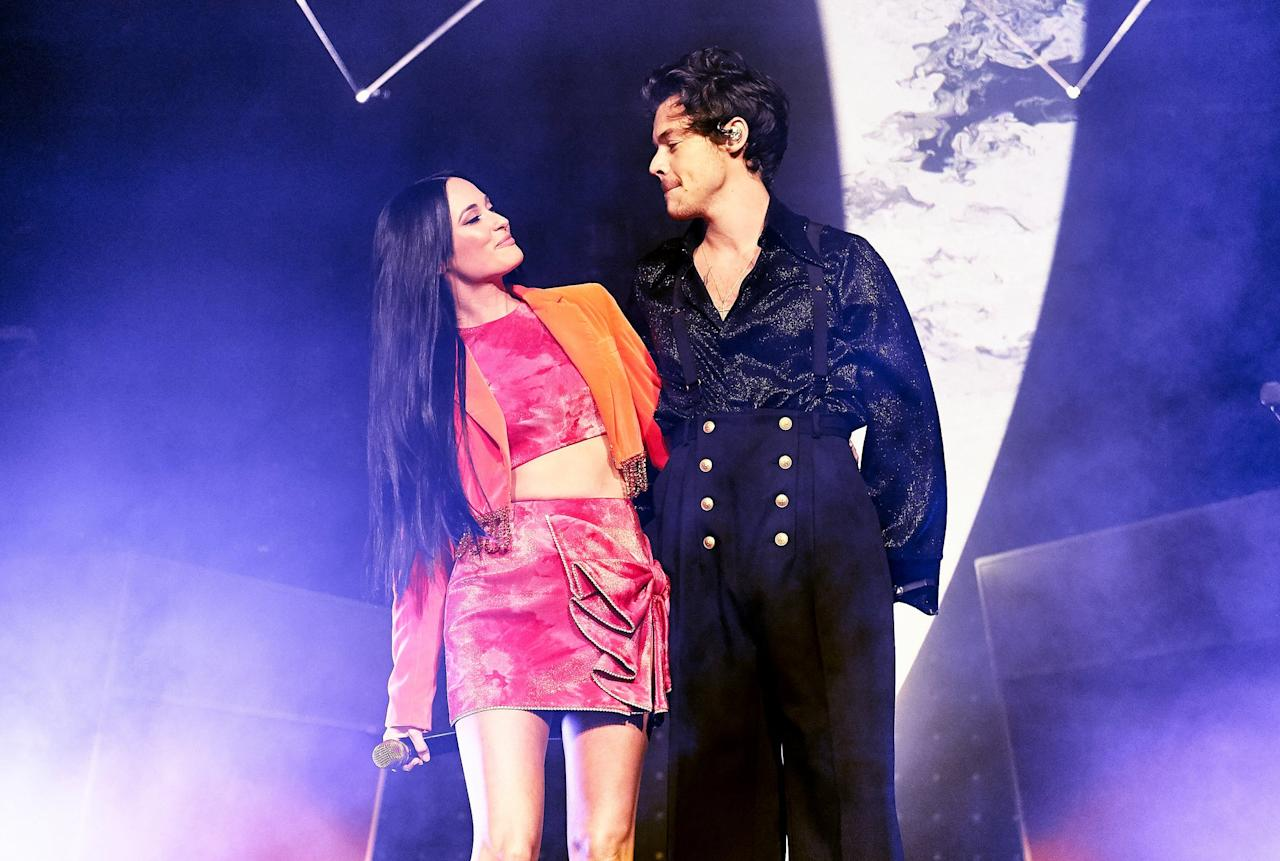 """<p>Harry Styles joined his friend and former tourmate Kacey Musgraves in October at the final show of her current tour in Nashville. <a href=""""https://www.popsugar.com/entertainment/kacey-musgraves-harry-styles-sing-space-cowboy-video-46813239"""" class=""""ga-track"""" data-ga-category=""""Related"""" data-ga-label=""""https://www.popsugar.com/entertainment/kacey-musgraves-harry-styles-sing-space-cowboy-video-46813239"""" data-ga-action=""""In-Line Links"""">The two sang her hit """"Space Cowboy""""</a> on stage, and he even stuck around <a href=""""https://twitter.com/hsdaily/status/1189289722474123266"""" target=""""_blank"""" class=""""ga-track"""" data-ga-category=""""Related"""" data-ga-label=""""https://twitter.com/hsdaily/status/1189289722474123266"""" data-ga-action=""""In-Line Links"""">for the afterparty, dressed as a Stormtrooper</a>.</p>"""