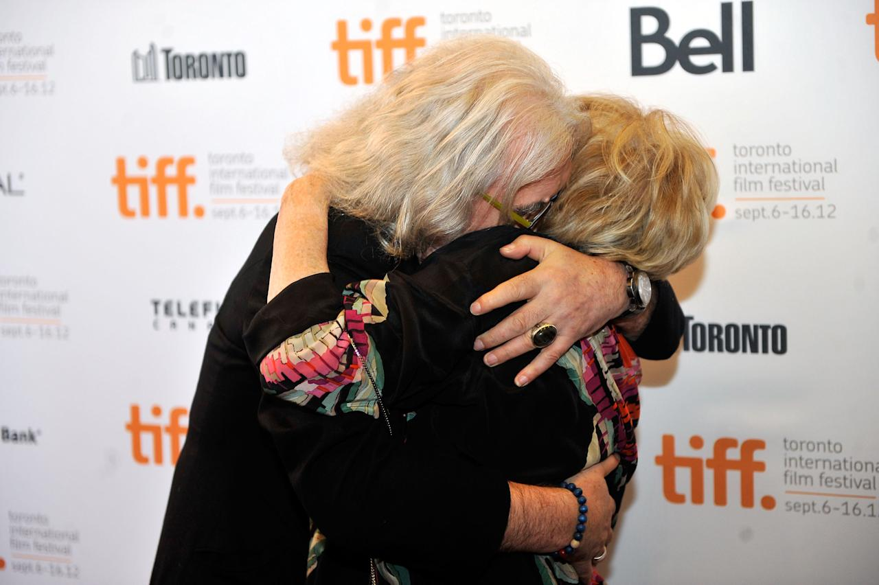"You can't see much of their faces, we admit, but Billy Connolly and Maggie Smith are still getting their message across loud and clear at the premiere of ""Quartet."""