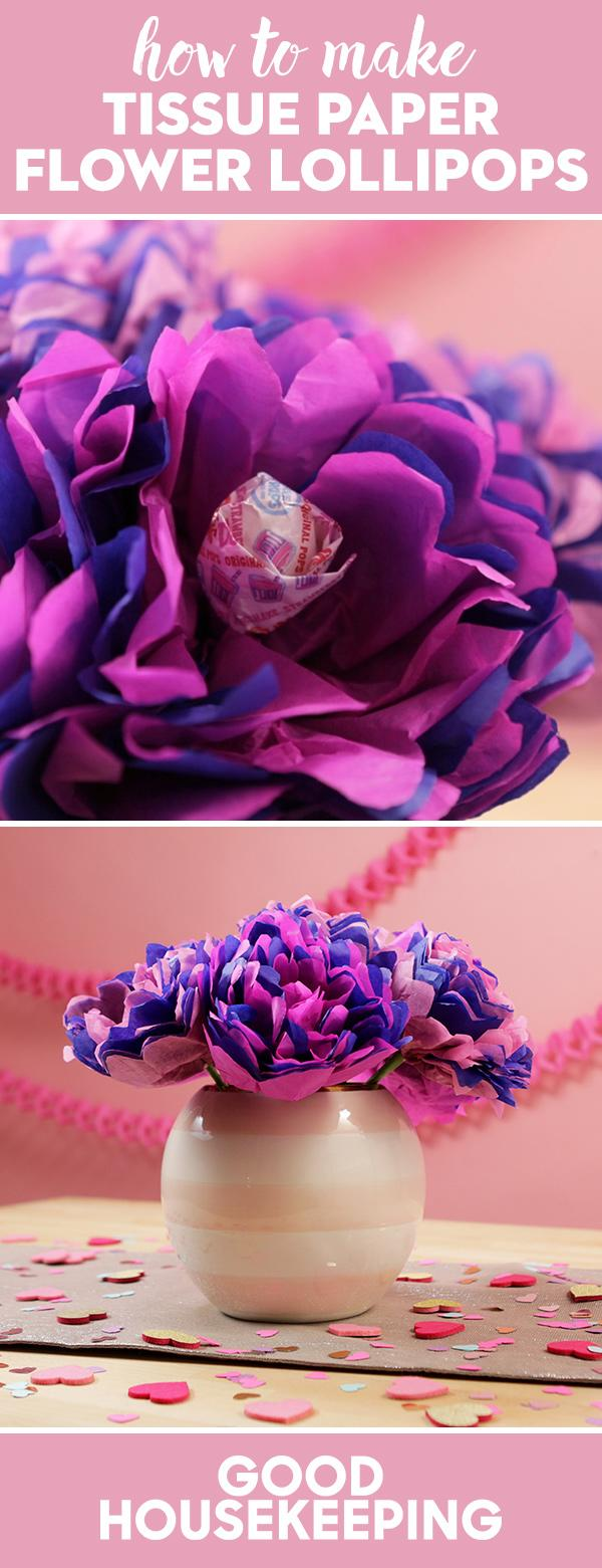 How To Make Tissue Paper Flower Lollipops For Valentines Day