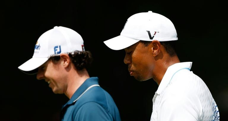 Tiger Woods (R) and Rory McIlroy will join Jason Day and Hideki Matsuyama in a Japan Skins game next month in Chiba (AFP Photo/SCOTT HALLERAN)