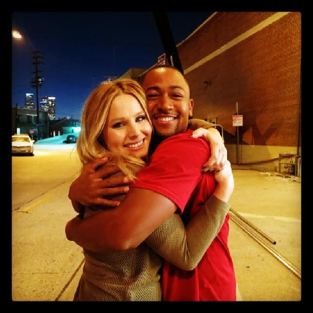 Be cool, sodapop: Kristen Bell and Percy Daggs III reunited on the set of @TheVeronicaMarsMovie, and it feels so good. #stillamarshmallow
