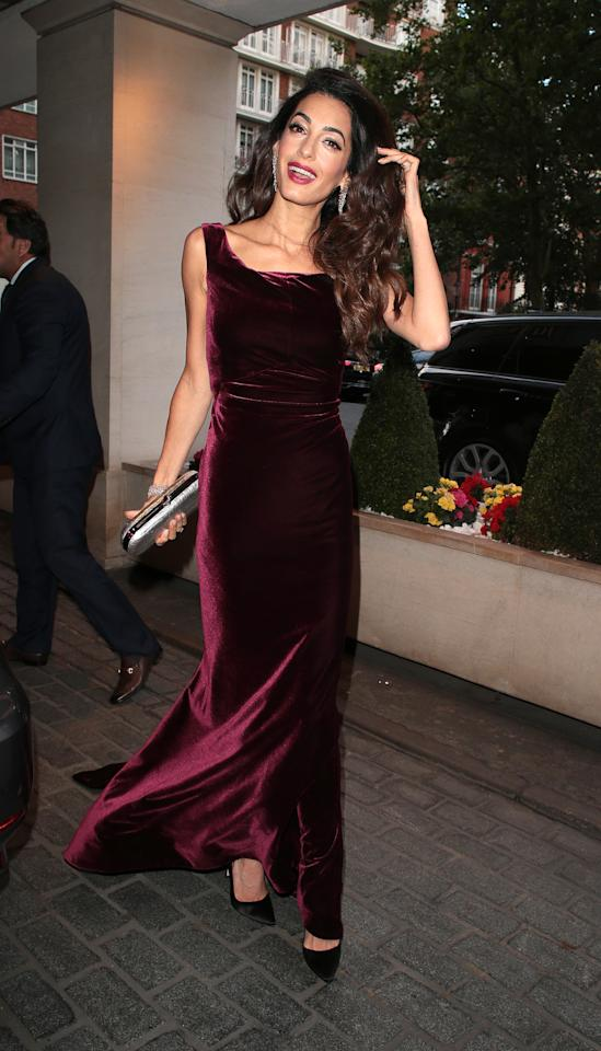 <p>Velvet isn't something you'd always associate with summer, but Amal Clooney just proved that the furry fabric can work perfectly for a balmy evening event. Especially when it's Alberta Ferretti. <em>[Photo: Getty]</em> </p>