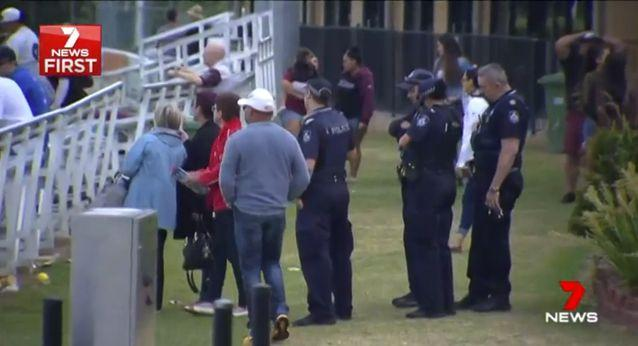 A heavy police presence remained at the ground after the match. Source: 7 News