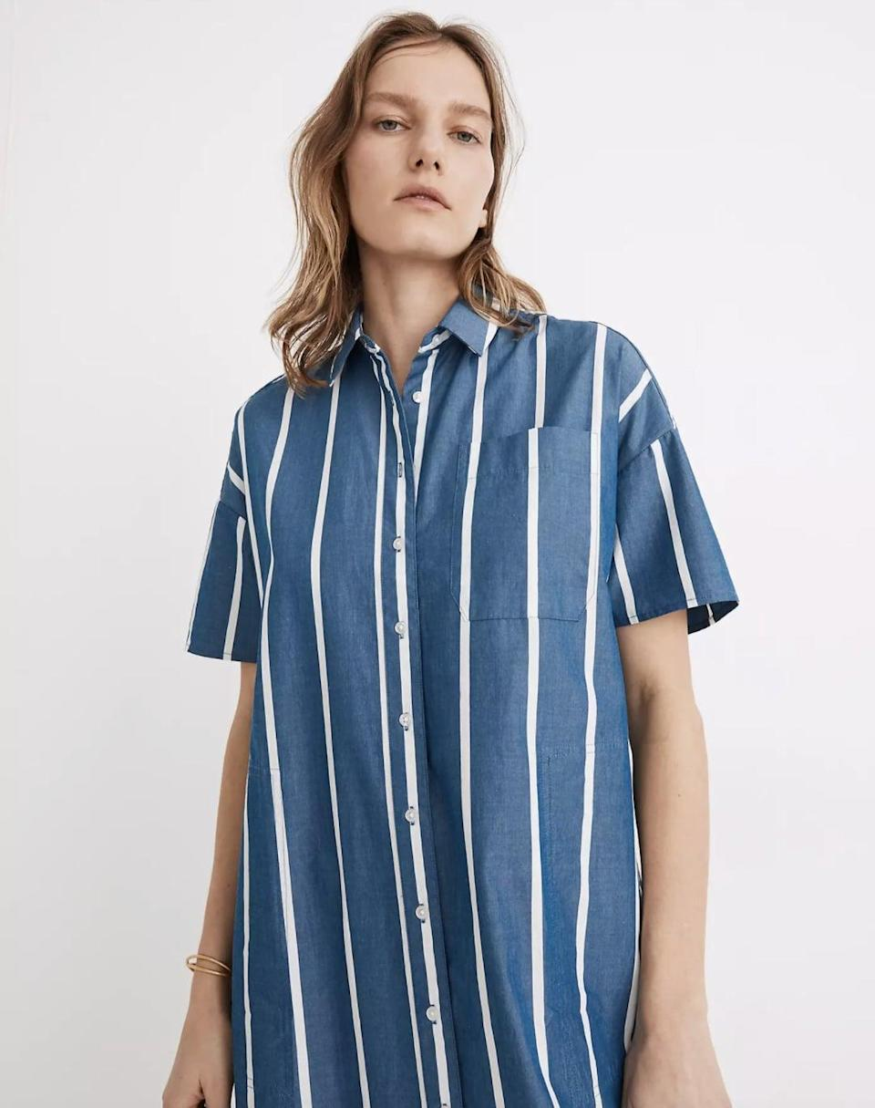 <p>The beach is calling for this <span>Madewell Oversized Midi Shirtdress</span> ($75, originally $108).</p>