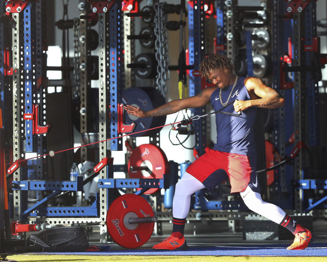 Atlanta Braves outfielder Ronald Acuna works out in the weight room at CoolToday Park, the team's spring training baseball facility in North Port, Fla., Tuesday, Feb. 18, 2020. (Curtis Compton/Atlanta Journal-Constitution via AP)
