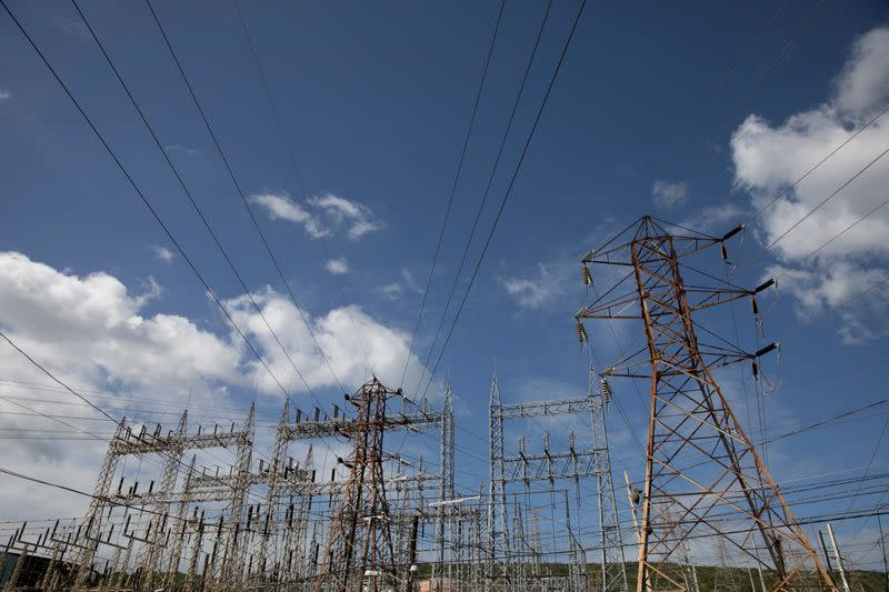 High-tension electrical power lines are seen at the Costa Sur power plant after an earthquake in Guayanilla