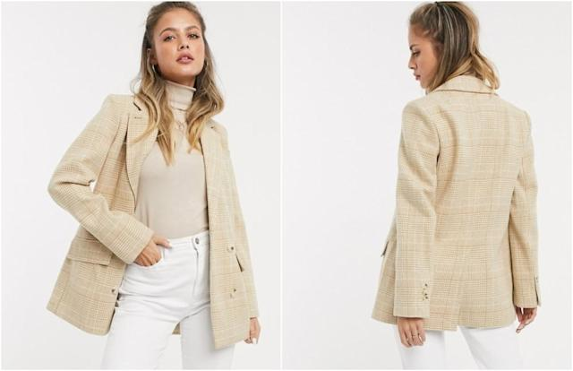 Miss Selfridge tailiored coat in camel check