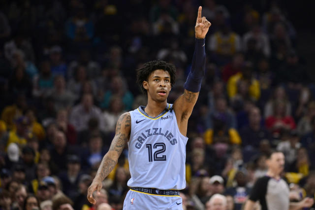 Memphis star Ja Morant thanked an unusual person after dropping 27 points against the Lakers on Saturday night. (AP/Brandon Dill)