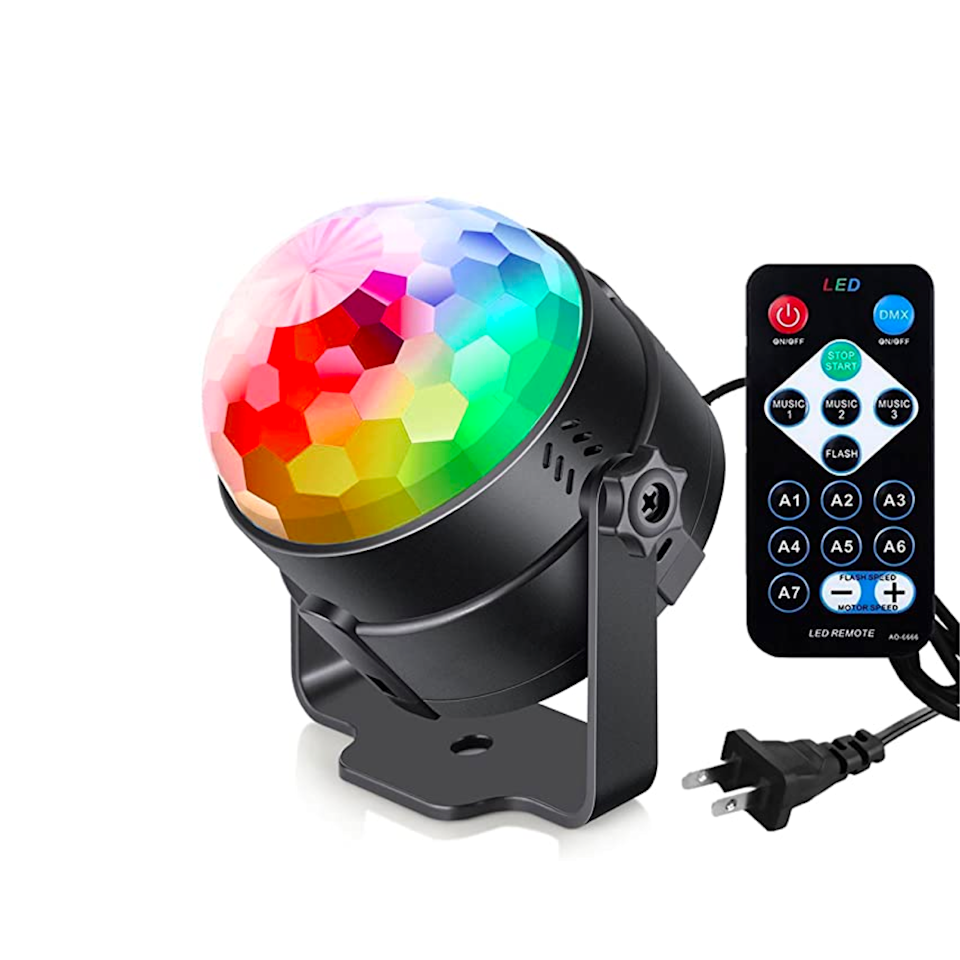 "All it takes is a rainbow disco lamp to turn a basic Zoom call into a virtual graduation party. You're welcome. $17, Amazon. <a href=""https://www.amazon.com/Activated-Control-Lighting-Parties-Birthday/dp/B06WVB8P3B/ref=sr_1_6"" rel=""nofollow noopener"" target=""_blank"" data-ylk=""slk:Get it now!"" class=""link rapid-noclick-resp"">Get it now!</a>"