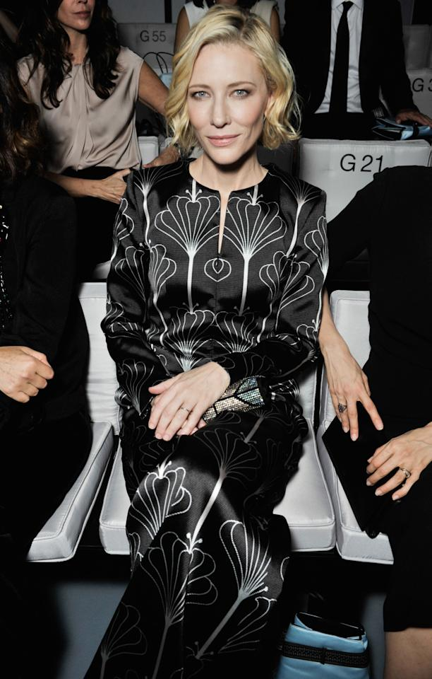 <p>Cate Blanchett looked chic front row at Giorgio Armani.  <i>[Photo: Swan Gallet/WWD/REX/Shutterstock]</i></p>
