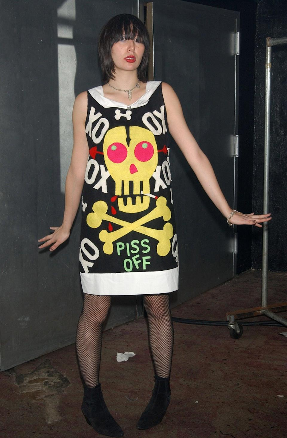 <p>Wearing a skull outfit by CJ at a benefit in 2003.</p>