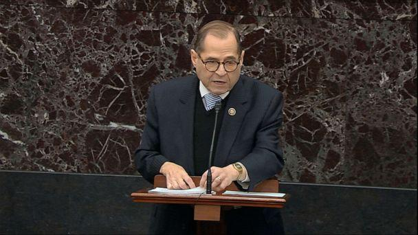 PHOTO: In this image from video, impeachment manager Rep. Jerrold Nadler, D-N.Y., argues in favor of an amendment to subpoena John Bolton during the impeachment trial against President Donald Trump. (AP)