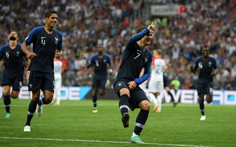 Antoine Griezmann celebrates his fourth goal at the 2018 World Cup  - 2018 Getty Images