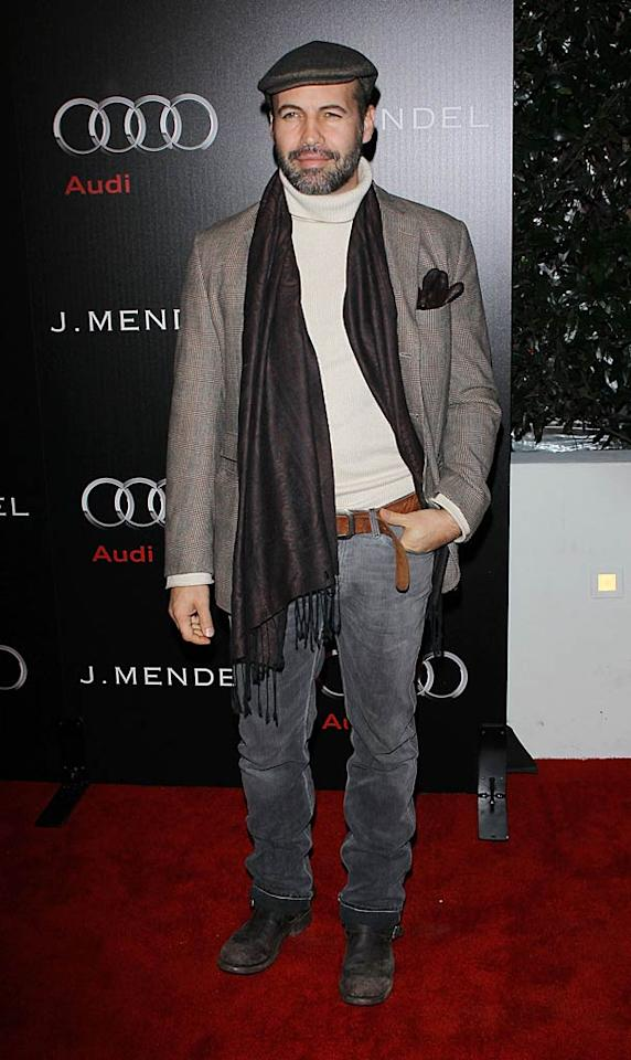 "Billy Zane looked like a college professor in his turtleneck sweater, blazer, and newsboy cap, which he inexplicably paired with dirty boots. Michael Tran/<a href=""http://filmmagic.com/"" target=""new"">FilmMagic.com</a> - January 9, 2011"