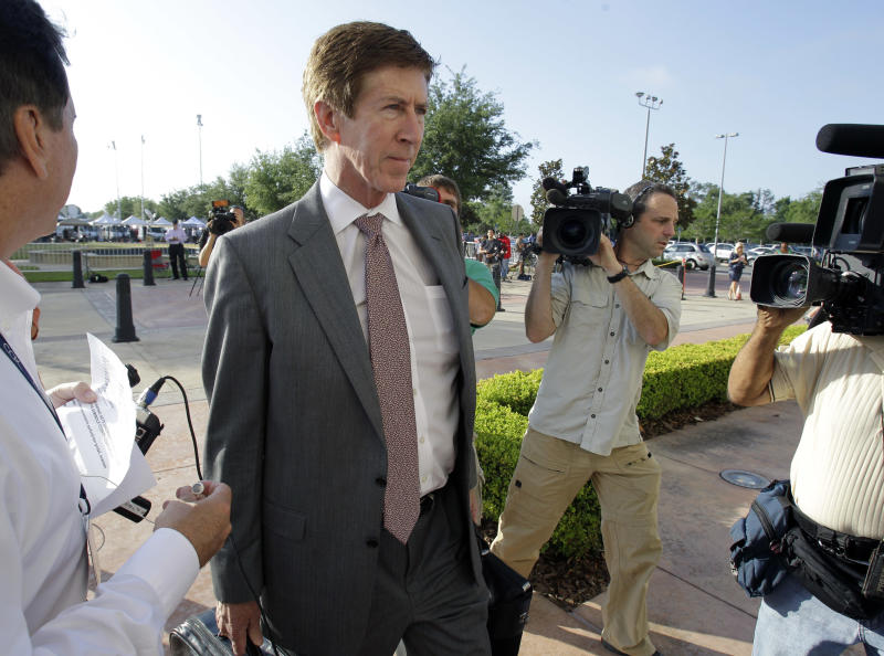 Attorney Mark O'Mara arrives at the Seminole County Criminal Justice Center for the bond hearing of his client George Zimmerman, the neighborhood watch volunteer charged with murdering Trayvon Martin, Friday, April 20, 2012, in Sanford, Fla. O'Mara is asking the Seminole County judge to let Zimmerman post bail at the hearing Friday. (AP Photo/John Raoux)