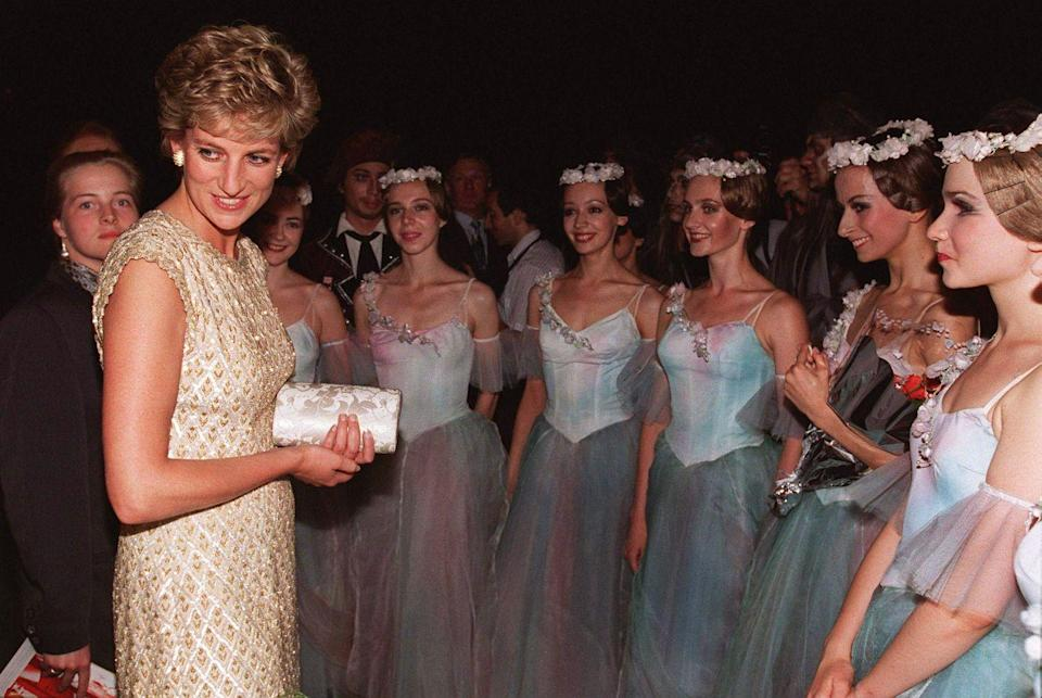 <p>Princess Diana meeting with members of the Bolshoi Ballet during her visit to Moscow in 1995.</p>