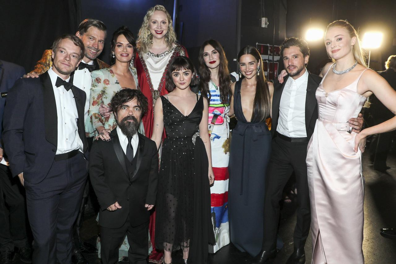 """<a href=""""https://ew.com/creative-work/game-of-thrones/""""><em>Game of Thrones</em></a> bid a final farewell at the <a href=""""https://ew.com/tag/emmys-2019/"""">2019 Emmy Awards</a>, taking home one last trophy for Outstanding Drama Series, as well as Outstanding Supporting Actor for Peter Dinklage. Read on for more photos of the actors at their last Emmys together as the<em>Game of Thrones</em> cast. (Pictured here are the 10 Emmy-nominated actors posing backstage.)"""