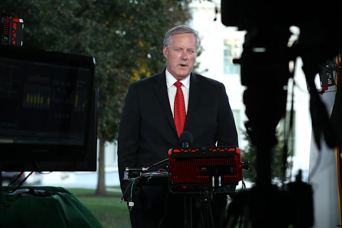 White House Chief of Staff Mark Meadows is interviewed by FOX News outside the White House October 07, 2020 in Washington, DC. According to Meadows, President Donald Trump was in the Oval Office Wednesday afternoon, three days after returning from Walter Reed National Military Medical Center after tested positive and being treated for COVID-19.  (Chip Somodevilla/Getty Images)