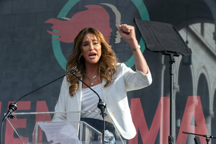 <p>Caitlyn Jenner speaks at the 4th Women's March in Los Angeles. Former Olympian Jenner is running for governor of California</p> ((AP Photo/Damian Dovarganes, File))