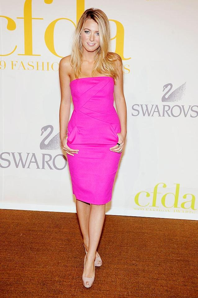 """Gossip Girl"" Blake Lively stood out in an electrifying pink Michael Kors strapless sheath and nude peep toes. Jamie McCarthy/<a href=""http://www.wireimage.com"" target=""new"">WireImage.com</a> - June 15, 2009"