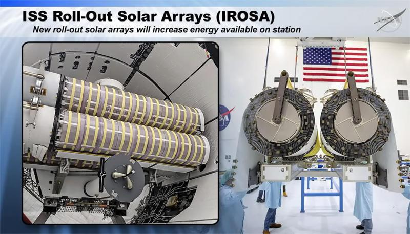 The iROSA blankets were launched to the station inside the trunk of a SpaceX Dragon cargo ship, left). / Credit: NASA