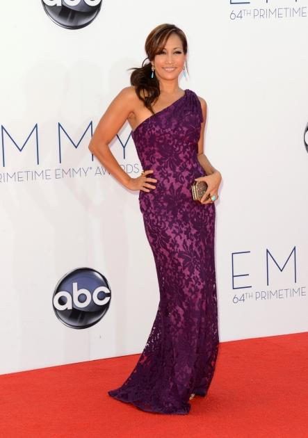 Carrie Ann Inaba arrives in a sequined purple dress at the 64th Annual Primetime Emmy Awards in Los Angeles on September 23, 2012 -- Getty Images