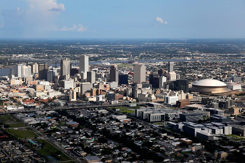An aerial view shows the skyline of New Orleans, Louisiana, U.S. on August 17, 2017. REUTERS/Jonathan Bachman