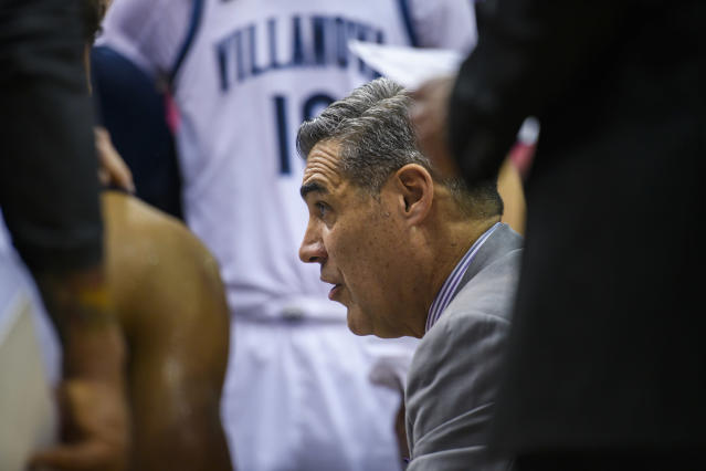 Villanova head coach Jay Wright talks to his team during a timeout during the second half of the Never Forget Tribute Classic NCAA college basketball game against Delaware, Saturday, Dec. 14, 2019, in Newark, N.J. (AP Photo/Corey Sipkin)