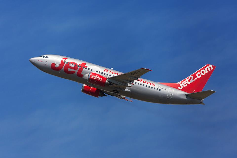 Barcelona, Spain - August 19, 2016: Jet2 Boeing 737-300 taking off from El Prat Airport in Barcelona, Spain.