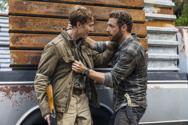 Jordan Woods-Robinson as Eric and Ross Marquand as Aaron in <em>The Walking Dead.</em> (Photo: Jackson Lee Davis/AMC)
