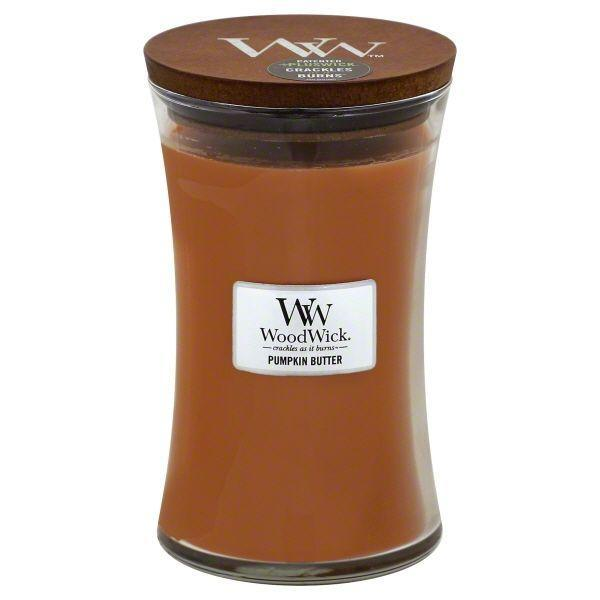 """<p><strong>WoodWick Candles</strong></p><p>walmart.com</p><p><strong>$21.87</strong></p><p><a href=""""https://go.redirectingat.com?id=74968X1596630&url=https%3A%2F%2Fwww.walmart.com%2Fip%2F107447661&sref=https%3A%2F%2Fwww.bestproducts.com%2Fhome%2Fg37377249%2Fbest-pumpkin-candles%2F"""" rel=""""nofollow noopener"""" target=""""_blank"""" data-ylk=""""slk:Shop Now"""" class=""""link rapid-noclick-resp"""">Shop Now</a></p><p>Pumpkin candles already pair so well with a roaring fire in the background, so why not combine the two? </p><p>This large candle from WoodWick provides cozy smells and sounds with its sumptuous Pumpkin Butter scent that makes a light crackle-pop sound as it burns.</p>"""