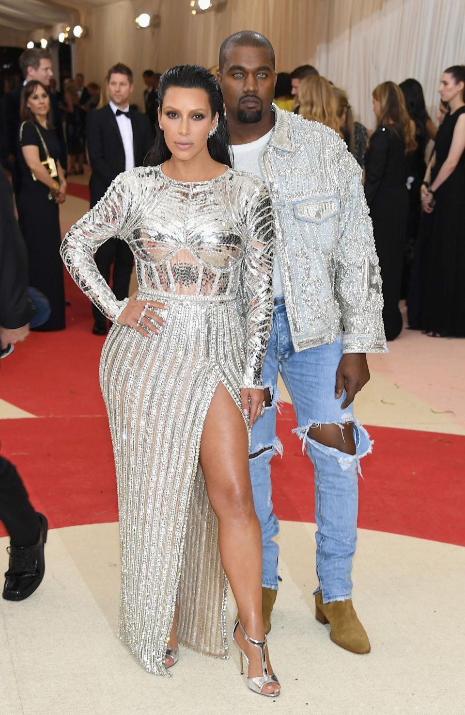 """<h1 class=""""title"""">Kim Kardashian West in a Balmain dress and Lorraine Schwartz jewelry and Kanye West in Fear of God</h1><cite class=""""credit"""">Photo: Getty Images</cite>"""