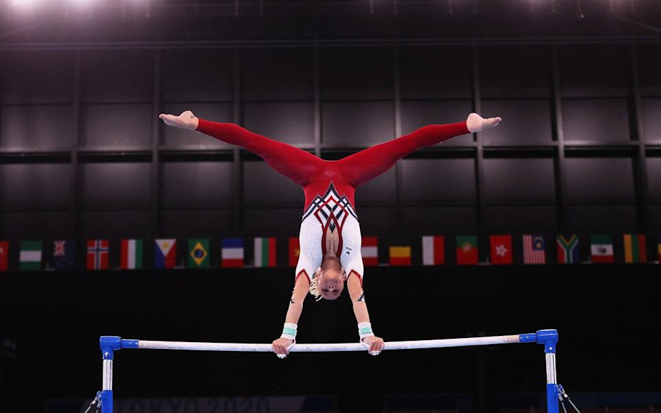Germany's Elisabeth Seitz on the uneven bars - GETTY IMAGES