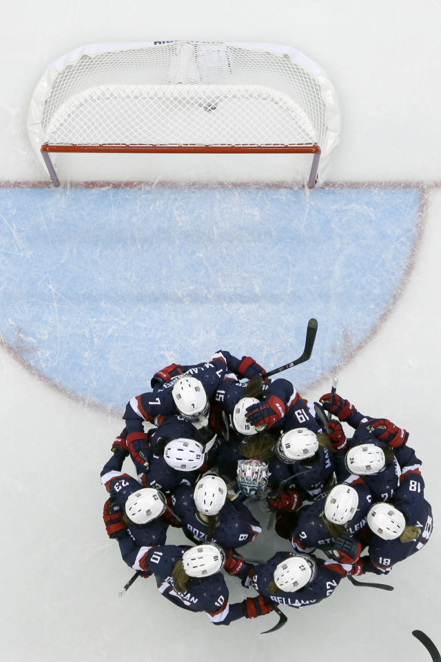 The USA women's hockey team celebrates their 3-1 win over Finland during at the Shayba Arena during the 2014 Winter Olympics, Saturday, Feb. 8, 2014, in Sochi, Russia. (AP Photo/Matt Slocum )