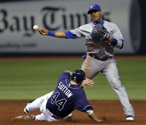 Toronto Blue Jays shortstop Yunel Escobar forces Tampa Bay Rays' Drew Sutton at second but can't get Luke Scott at first base during the third inning of a baseball game, Wednesday, May 23, 2012, in St. Petersburg, Fla. Rays' B.J. Upton scored on the play. (AP Photo/Chris O'Meara)