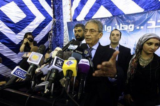 Egyptian presidential candidate Amr Mussa speaks