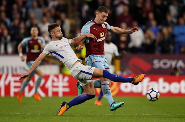 "Soccer Football - Premier League - Burnley vs Chelsea - Turf Moor, Burnley, Britain - April 19, 2018 Chelsea's Gary Cahill in action with Burnley's Sam Vokes Action Images via Reuters/Andrew Boyers EDITORIAL USE ONLY. No use with unauthorized audio, video, data, fixture lists, club/league logos or ""live"" services. Online in-match use limited to 75 images, no video emulation. No use in betting, games or single club/league/player publications. Please contact your account representative for further details."