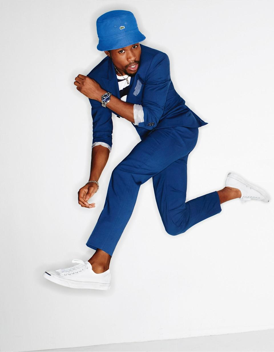 """This summer's <a rel=""""nofollow noopener"""" href=""""https://www.gq.com/story/the-best-affordable-summer-suit?mbid=synd_yahoo_rss"""" target=""""_blank"""" data-ylk=""""slk:most affordable do-everything-in-it suit"""" class=""""link rapid-noclick-resp"""">most affordable do-everything-in-it suit</a>, plus a bucket hat (because that's how un-boring style works in 2018)."""