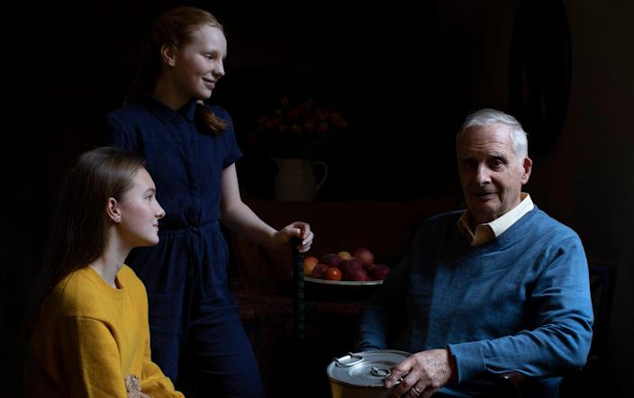 Steven Frank, aged 84, with his granddaughters Trixie and Maggie - The Duchess of Cambridge
