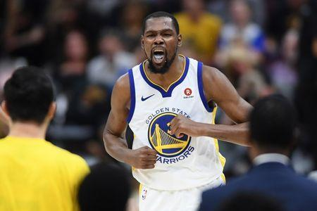 Jun 8, 2018; Cleveland, OH, USA; Golden State Warriors forward Kevin Durant (35) reacts in a timeout during the third quarter in game four of the 2018 NBA Finals against the Cleveland Cavaliers at Quicken Loans Arena. Ken Blaze-USA TODAY Sports